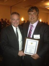 Christopher Stark, CEO, Cetrom with Senator Tim Kaine